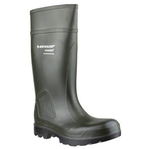 Dunlop Purofort Professional Plain Rubber Wellingtons Green
